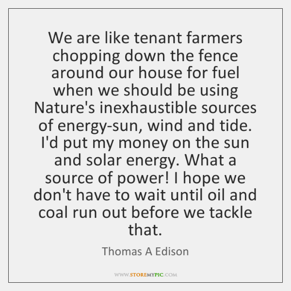We are like tenant farmers chopping down the fence around our house ...