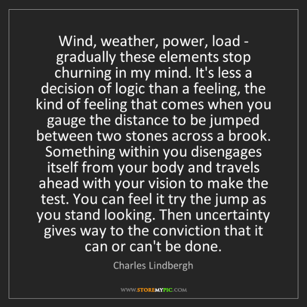 Charles Lindbergh: Wind, weather, power, load - gradually these elements...