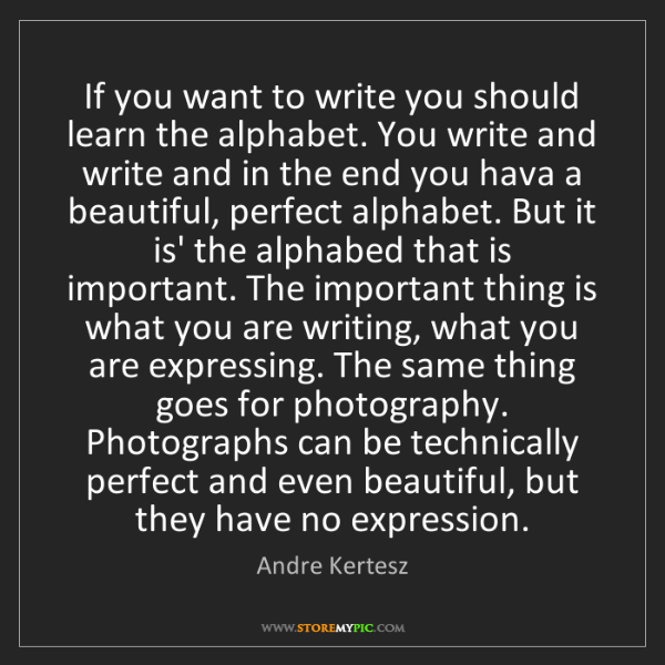 Andre Kertesz: If you want to write you should learn the alphabet. You...