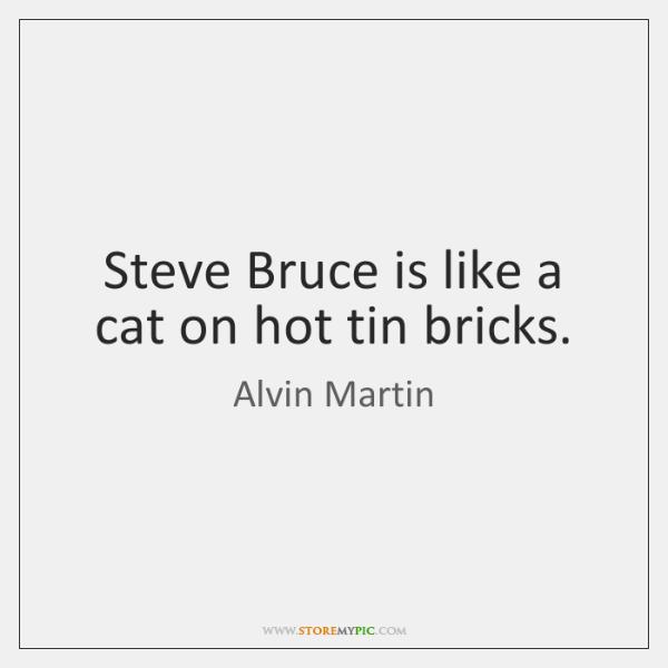 Steve Bruce is like a cat on hot tin bricks.