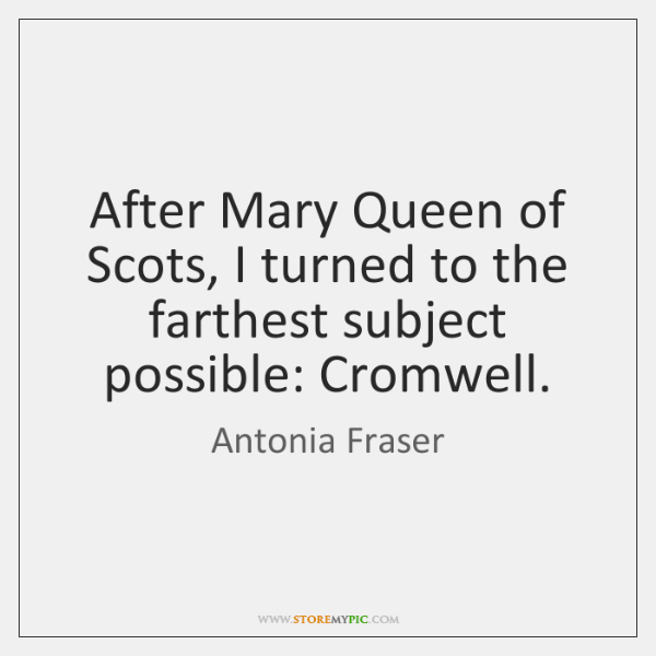After Mary Queen of Scots, I turned to the farthest subject possible: ...
