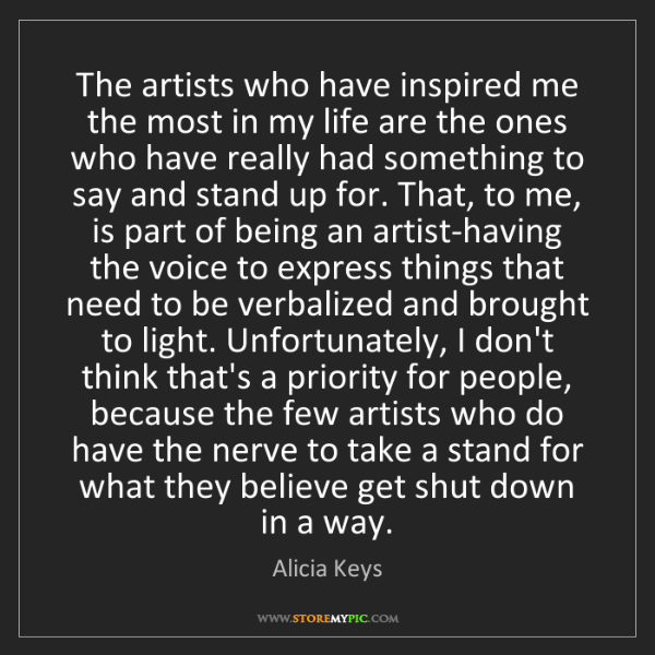 Alicia Keys: The artists who have inspired me the most in my life...