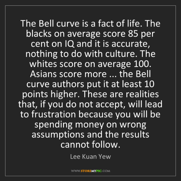 Lee Kuan Yew: The Bell curve is a fact of life. The blacks on average...