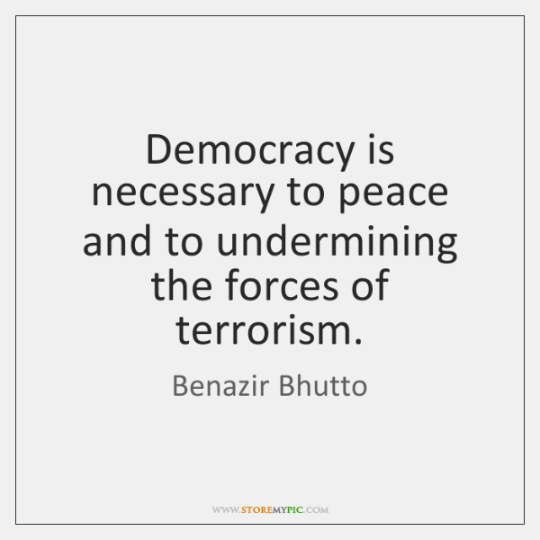 Democracy is necessary to peace and to undermining the forces of terrorism.