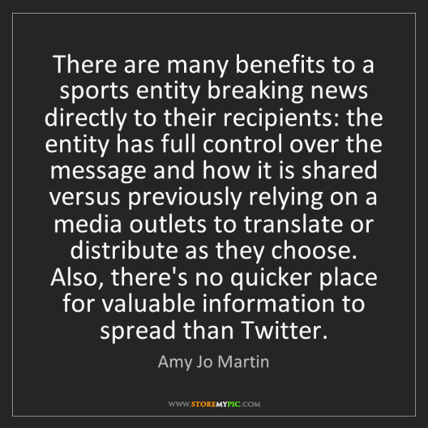 Amy Jo Martin: There are many benefits to a sports entity breaking news...
