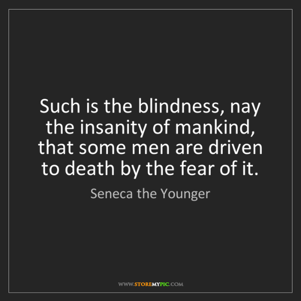 Seneca the Younger: Such is the blindness, nay the insanity of mankind, that...