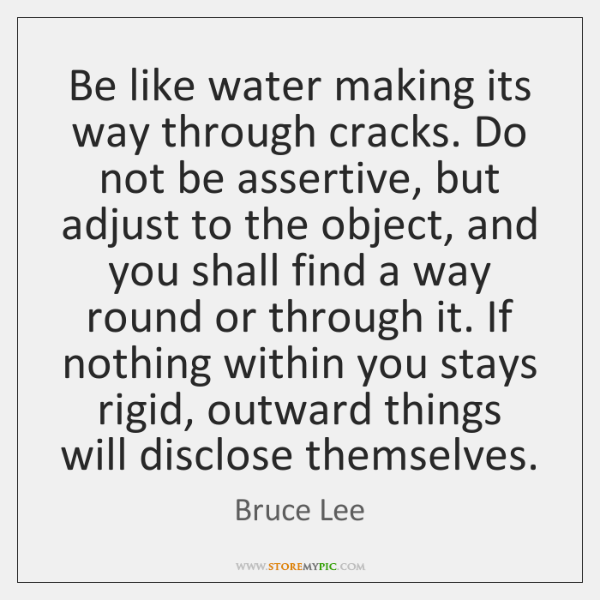 Be like water making its way through cracks. Do not be assertive, ...