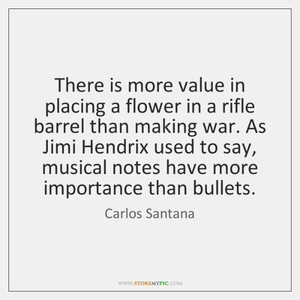There is more value in placing a flower in a rifle barrel ...