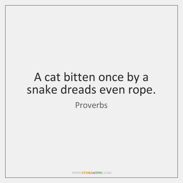A cat bitten once by a snake dreads even rope.