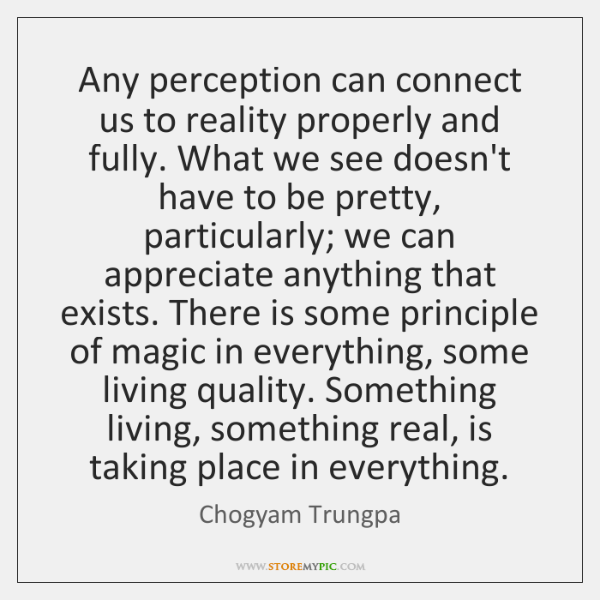 Any perception can connect us to reality properly and fully. What we ...