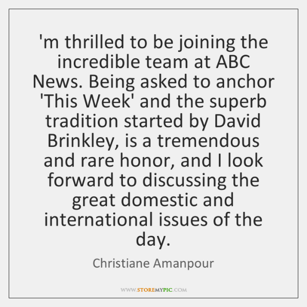 'm thrilled to be joining the incredible team at ABC News. Being ...