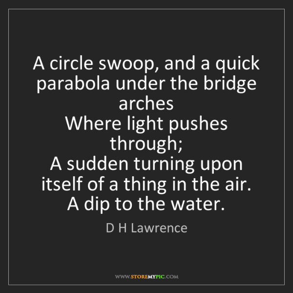 D H Lawrence: A circle swoop, and a quick parabola under the bridge...