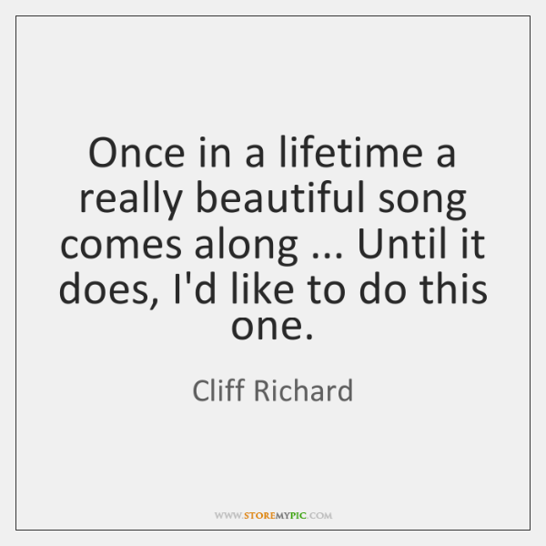 Once in a lifetime a really beautiful song comes along ... Until it ...