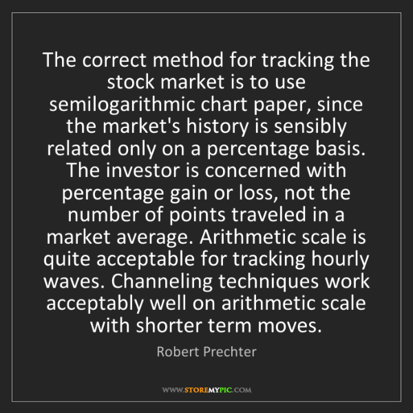 Robert Prechter: The correct method for tracking the stock market is to...
