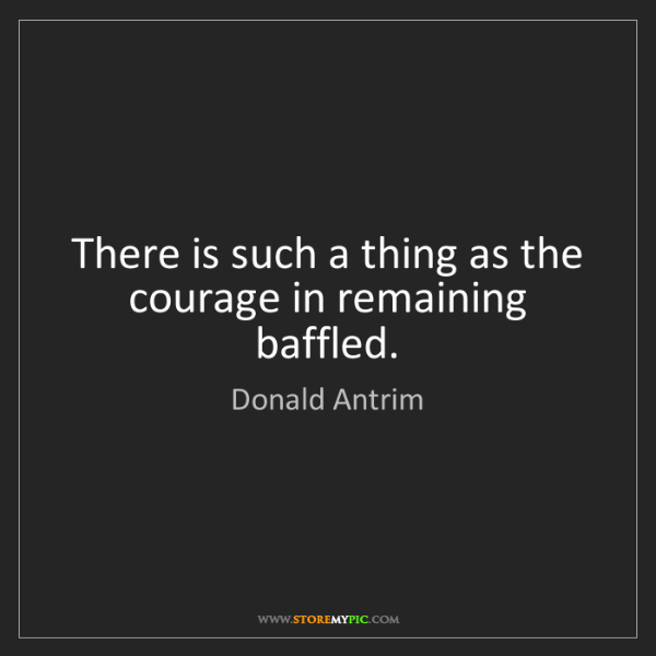 Donald Antrim: There is such a thing as the courage in remaining baffled.