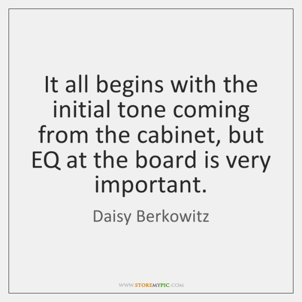 It all begins with the initial tone coming from the cabinet, but ...