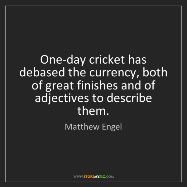 Matthew Engel: One-day cricket has debased the currency, both of great...