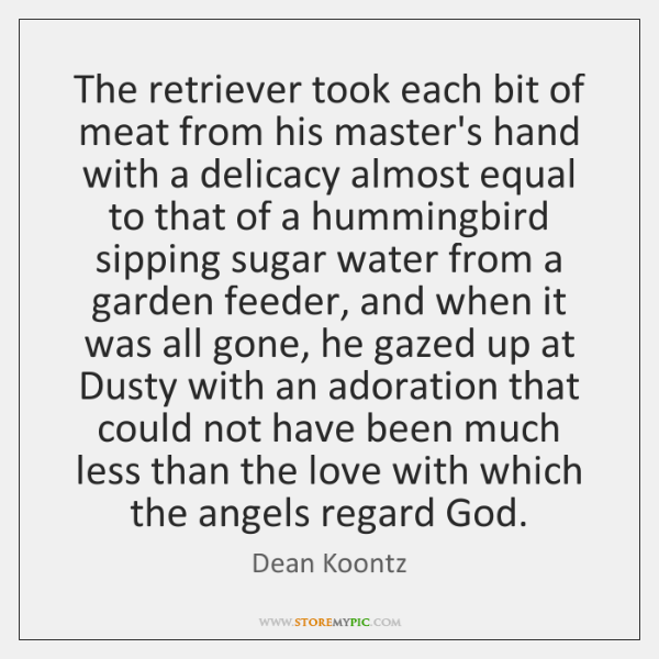 The retriever took each bit of meat from his master's hand with ...