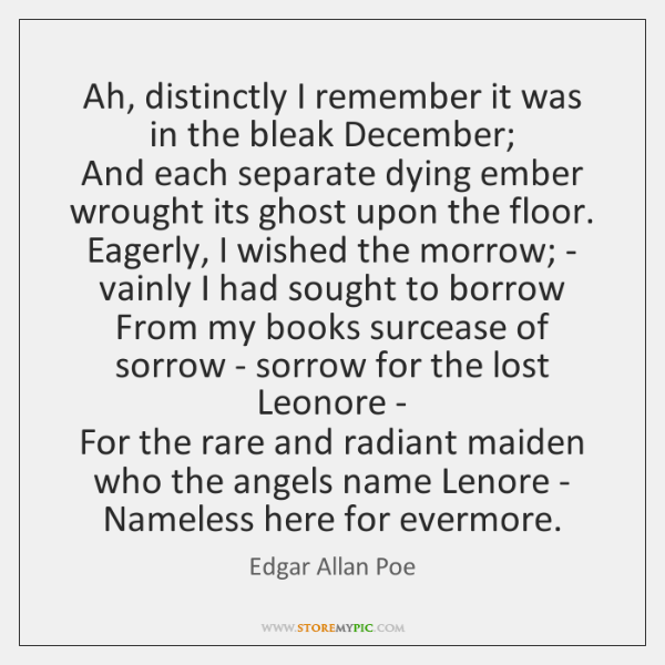 Ah, distinctly I remember it was in the bleak December;  And each ...