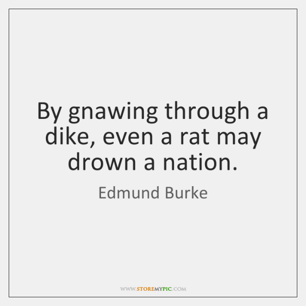 By gnawing through a dike, even a rat may drown a nation.