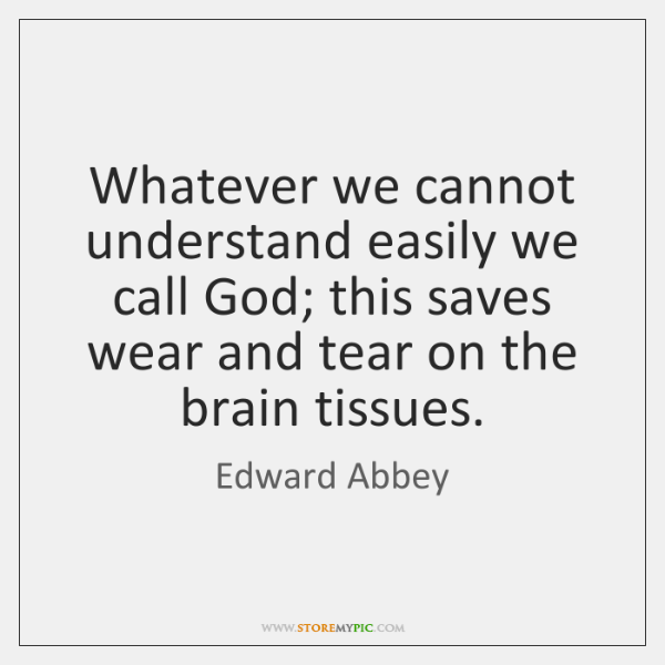 Whatever we cannot understand easily we call God; this saves wear and ...