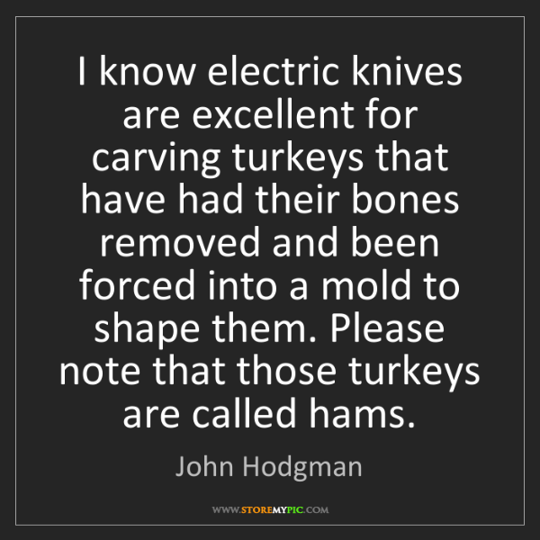 John Hodgman: I know electric knives are excellent for carving turkeys...