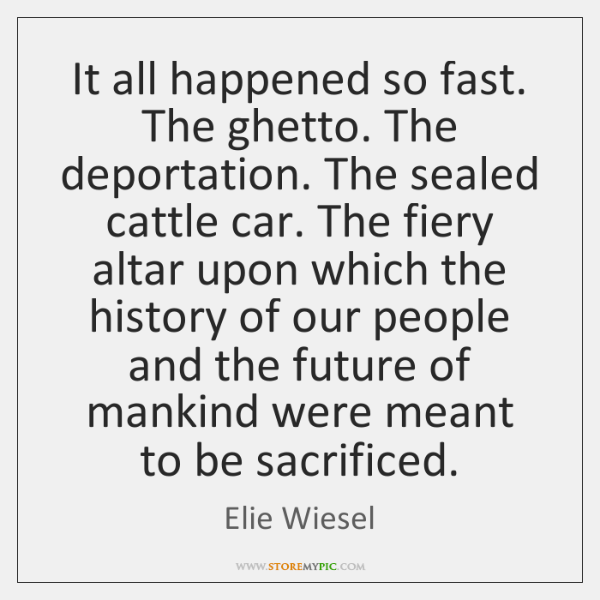 It all happened so fast. The ghetto. The deportation. The sealed cattle ...