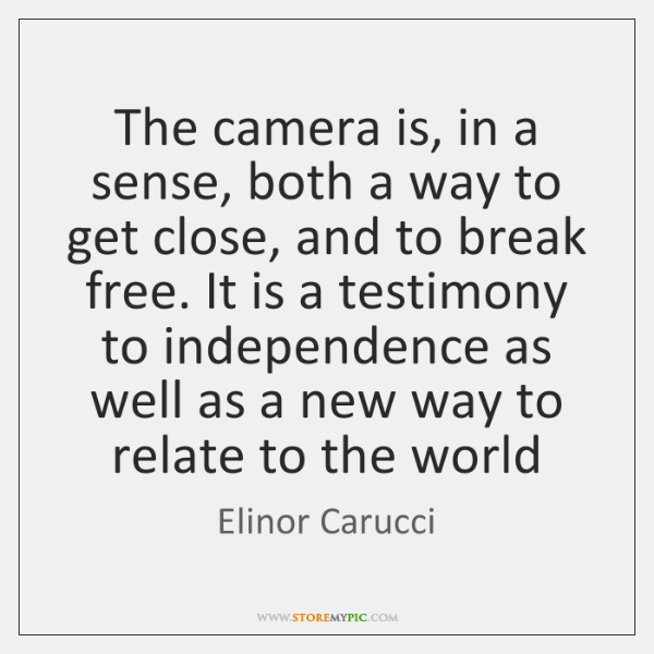 The camera is, in a sense, both a way to get close, ...