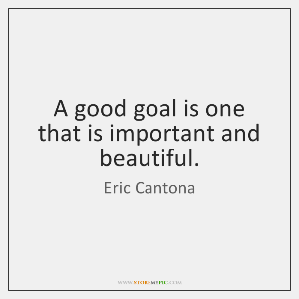 A good goal is one that is important and beautiful.