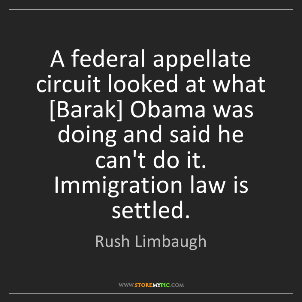 Rush Limbaugh: A federal appellate circuit looked at what [Barak] Obama...