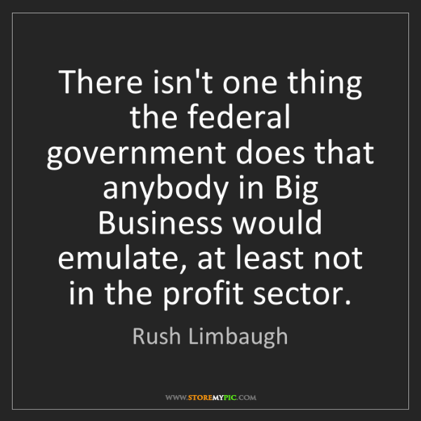 Rush Limbaugh: There isn't one thing the federal government does that...