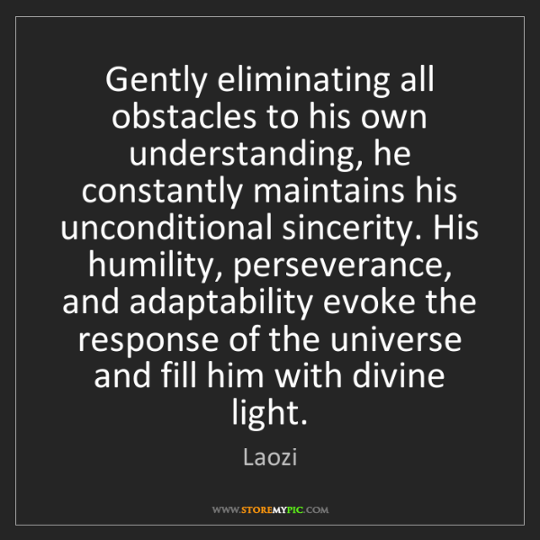 Laozi: Gently eliminating all obstacles to his own understanding,...