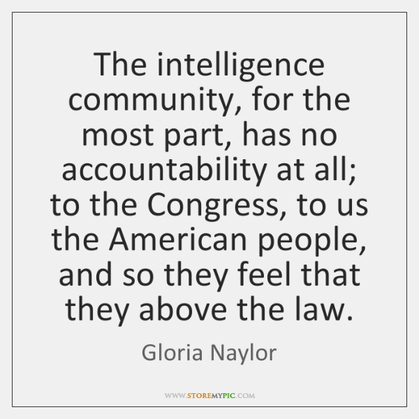 The intelligence community, for the most part, has no accountability at all; ...