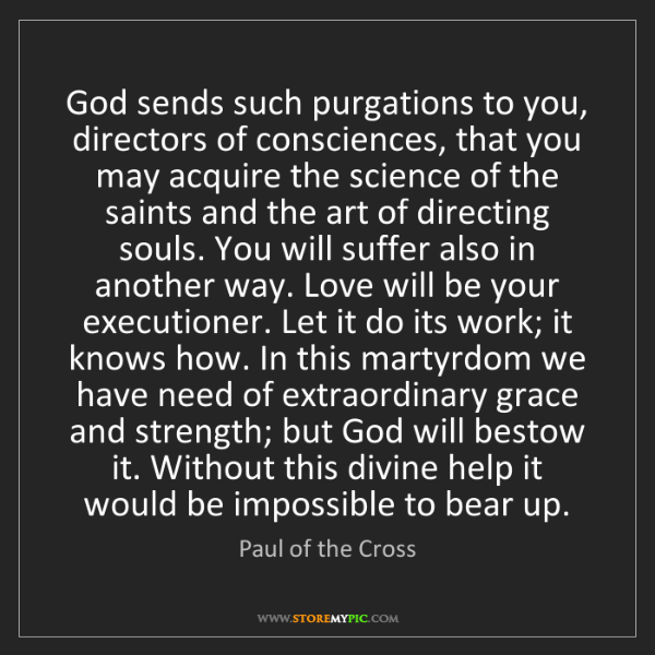 Paul of the Cross: God sends such purgations to you, directors of consciences,...