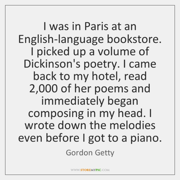 I was in Paris at an English-language bookstore. I picked up a ...