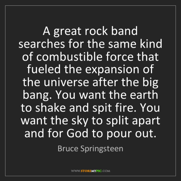 Bruce Springsteen: A great rock band searches for the same kind of combustible...