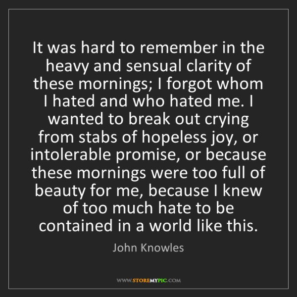 John Knowles: It was hard to remember in the heavy and sensual clarity...