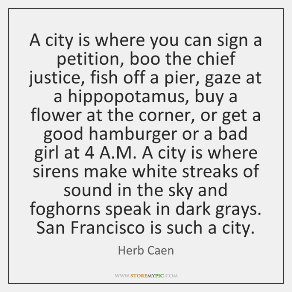 A city is where you can sign a petition, boo the chief ...