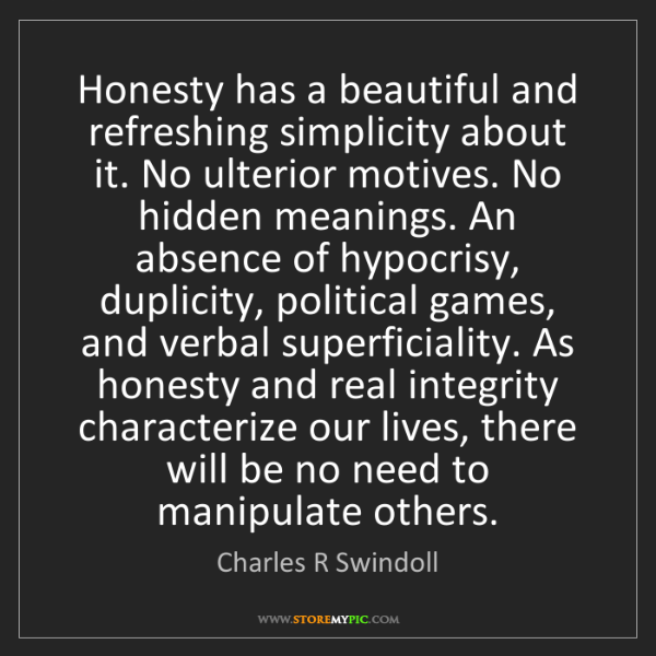 Charles R Swindoll: Honesty has a beautiful and refreshing simplicity about...