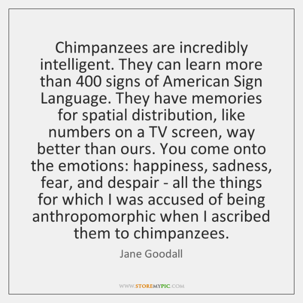 Chimpanzees are incredibly intelligent. They can learn more than 400 signs of American ...