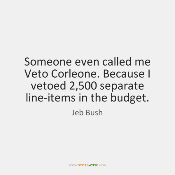 Someone even called me Veto Corleone. Because I vetoed 2,500 separate line-items in ...