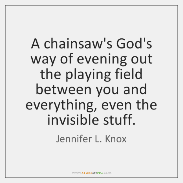 A chainsaw's God's way of evening out the playing field between you ...