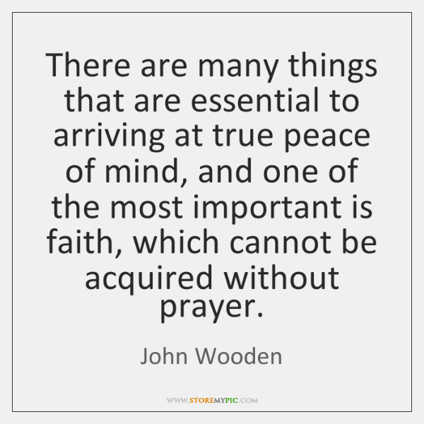 There are many things that are essential to arriving at true peace ...
