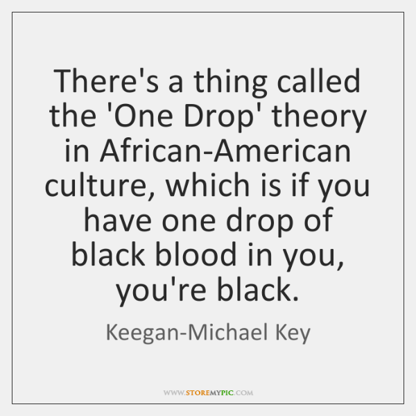 There's a thing called the 'One Drop' theory in African-American culture, which ...
