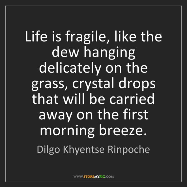 Dilgo Khyentse Rinpoche: Life is fragile, like the dew hanging delicately on the...