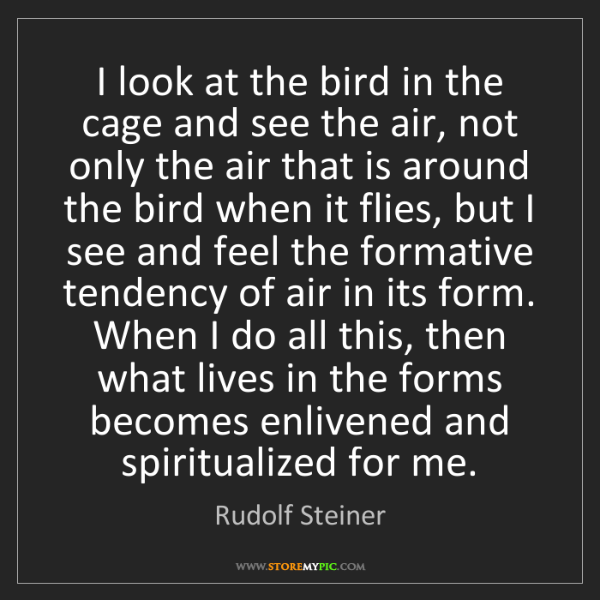 Rudolf Steiner: I look at the bird in the cage and see the air, not only...