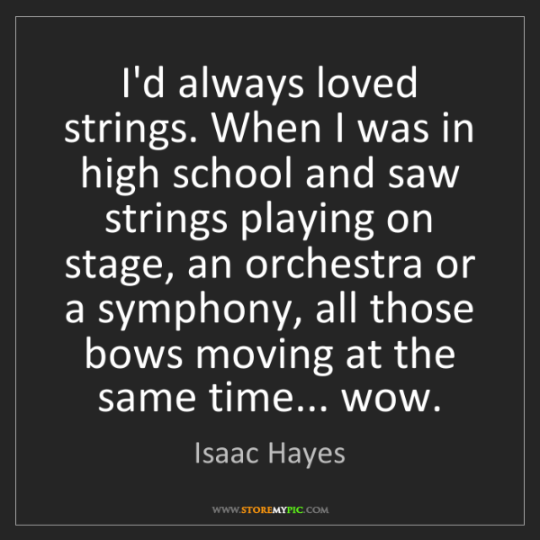 Isaac Hayes: I'd always loved strings. When I was in high school and...