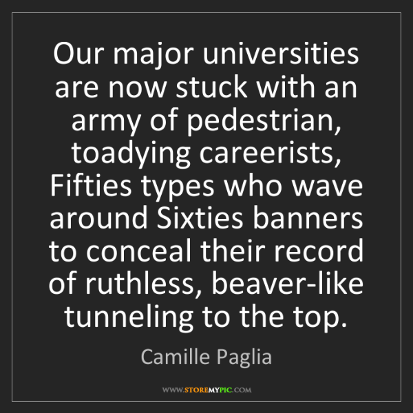 Camille Paglia: Our major universities are now stuck with an army of...