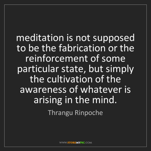 Thrangu Rinpoche: meditation is not supposed to be the fabrication or the...