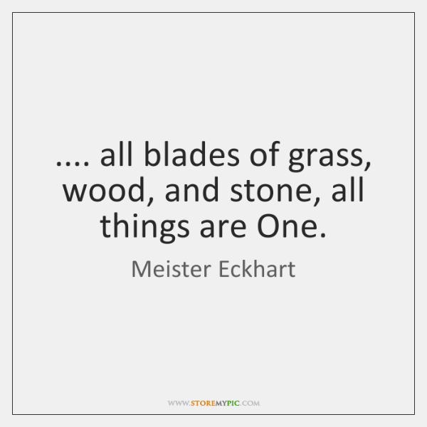 .... all blades of grass, wood, and stone, all things are One.